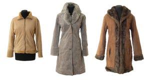 Accumulazione femminile dei cappotti di pelliccia # 1 | Isolato Fotografie Stock