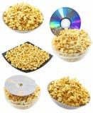 Accumulazione (imposti) del popcorn della caramella. Isolato Fotografie Stock