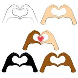 accumulazione Le mani umane sono piegate sotto forma di un cuore e di un cuore rosso La gente delle nazionalit? differenti Giorno illustrazione di stock