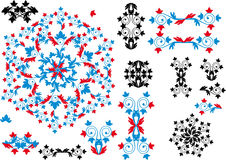 Accumulazione ornamentale rossa e blu del nero, degli elementi Fotografia Stock Libera da Diritti