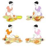 accumulazione Profilo di bella signora Le ragazze stanno cucinando Copra la tavola dei frutti, le verdure, il pesce, le patate, c royalty illustrazione gratis