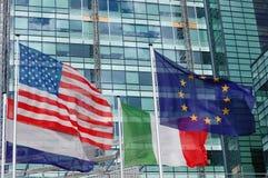 Accumulazione Stati Uniti della bandierina e l'euro Fotografia Stock
