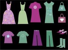 Accumulazione sveglia dei vestiti per le donne illustrazione di stock