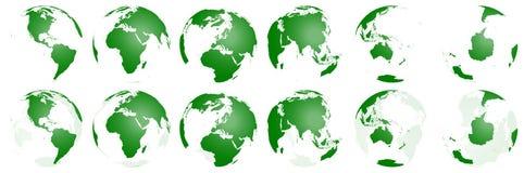 Accumulazione trasparente dei globi del mondo Illustrazione di Stock