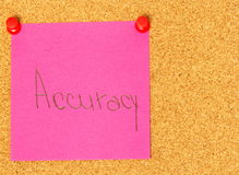 Accuracy post-it coarkboard background Royalty Free Stock Photography