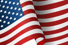 Free Accurate American Flag Vector. Wavy Color Illustration Isolated On White Background Royalty Free Stock Image - 183581326