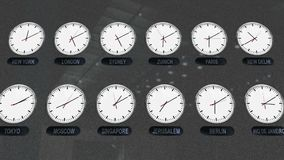 Location Clocks with Different Time Zones in Time Lapse. Accurate Clocks with Different Time Zones All over the World in Time Lapse