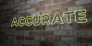 ACCURATE - Glowing Neon Sign on stonework wall - 3D rendered royalty free stock illustration Royalty Free Stock Photography