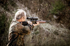 Accurate hunter. Opening of the hunting season Royalty Free Stock Images