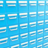 Accurate infinite rows of drawers as business background Stock Photos