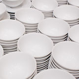 Accurate pile stack of the round ceramic white empty copyspace d Stock Photography