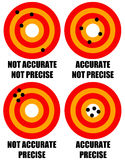 Accurate precise. Explaining the difference between precision and accuracy Stock Photography