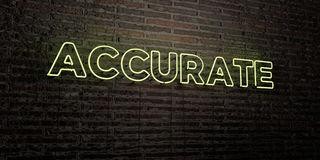 ACCURATE -Realistic Neon Sign on Brick Wall background - 3D rendered royalty free stock image Royalty Free Stock Photo
