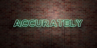 ACCURATELY - fluorescent Neon tube Sign on brickwork - Front view - 3D rendered royalty free stock picture Royalty Free Stock Photo