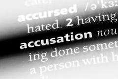 Accusation. Word in a dictionary.  concept Stock Image