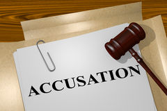 Accusation - legal concept. 3D illustration of ACCUSATION title on legal document royalty free illustration
