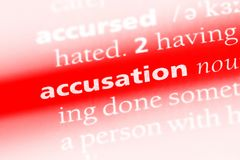 Accusation. Word in a dictionary.  concept Royalty Free Stock Photo