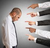 Accused businessman. Businessman accused with hands that indicate Royalty Free Stock Photos