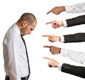 Accused businessman. Businessman accused with hands that indicate Royalty Free Stock Images