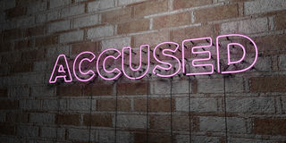 ACCUSED - Glowing Neon Sign on stonework wall - 3D rendered royalty free stock illustration Royalty Free Stock Photography