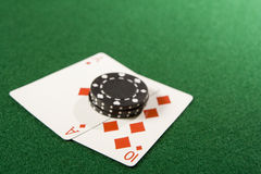 Ace and 10 of Diamonds Royalty Free Stock Photography