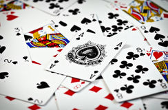 Ace. In the middle of other cards Royalty Free Stock Images