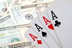 A is for Ace. Four ace cards and money Stock Images