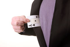 Ace advantage. Ace in pocket. businessman pull out advantage or magic trick by magician stock photo
