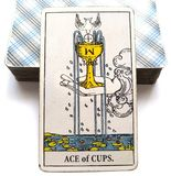 Ace amour de carte de tarot de tasses du nouvel aiment des débuts de Joy Happiness Happy News Contentment de partager au grand co illustration de vecteur