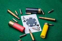 Ace av spadar med kulor Royaltyfri Fotografi