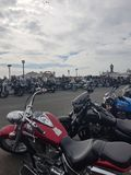 Ace Cafe Reunion`s 25th anniversary Burn Up. A three day motorcycling event held each year and 2018 being the 25th anniversary. Motorcyclists from across the UK royalty free stock photography