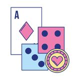 Ace card dices chip poker casino game. Vector illustration royalty free illustration