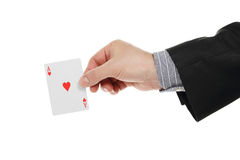 Ace card in hand Stock Image