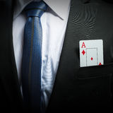 ace card in his suit pocket Royalty Free Stock Photo