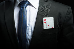 ace card in his suit pocket Royalty Free Stock Photos