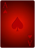 Ace card spades poker. Vector ace spades card poker with red letters and red card for casino poker Royalty Free Stock Image