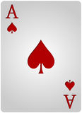 Ace card spades poker. Vector ace spades card poker with red letters and white card for casino poker Stock Photos