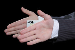 Ace card under sleeve Royalty Free Stock Photo