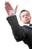Ace card under sleeve - business man Royalty Free Stock Photos
