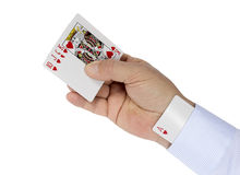 Ace Card under sleeve. Ace Card hidden under sleeve. Royal Flush in poker. Isolation on a white background. Clipping path Royalty Free Stock Image