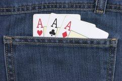 Ace carda. Calças de brim Fotografia de Stock Royalty Free