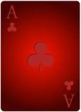 Ace carda el póker de los clubs Imagen de archivo