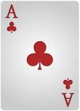 Ace carda el póker de los clubs Fotos de archivo