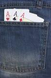 Ace carda. Jeans Fotografia Stock