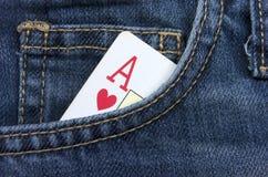 Ace carda. Jeans Immagine Stock Libera da Diritti