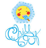 Ace Chill Out. A sun character named ACE eating ice cream and express it with the snow flakes coming out around him, a decorative wording below him Chill Out royalty free illustration