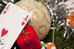 Ace with a christmas ball Royalty Free Stock Images