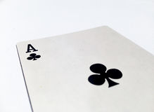 Ace Clovers / Clubs Card with White Background. A playing card is a piece of specially prepared heavy paper, thin cardboard, plastic-coated paper, cotton-paper Royalty Free Stock Image
