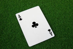 Ace of clubs. A ace of clubs card royalty free stock images