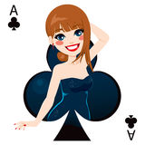 Ace Of Clubs. Beautiful brunette girl representing ace of clubs card from poker game Royalty Free Stock Photos